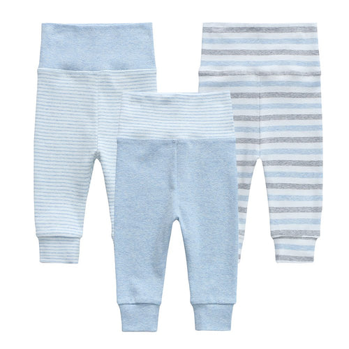Organic Cotton +  Stretch  3 Pack Pants - Blue Stripe