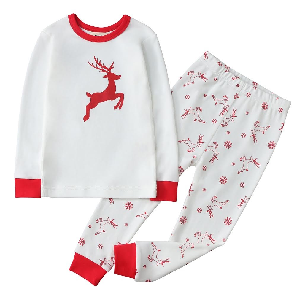 100% Organic Cotton Toddler 2 Piece Pajama Set - Red Deer