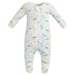 100% Organic Cotton Zip Footed Pajamas - Dinosaurs