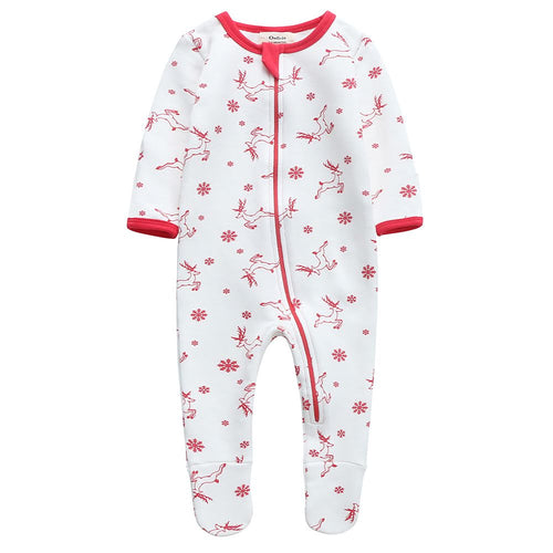 Fleece Footed Pajamas - Red Deer