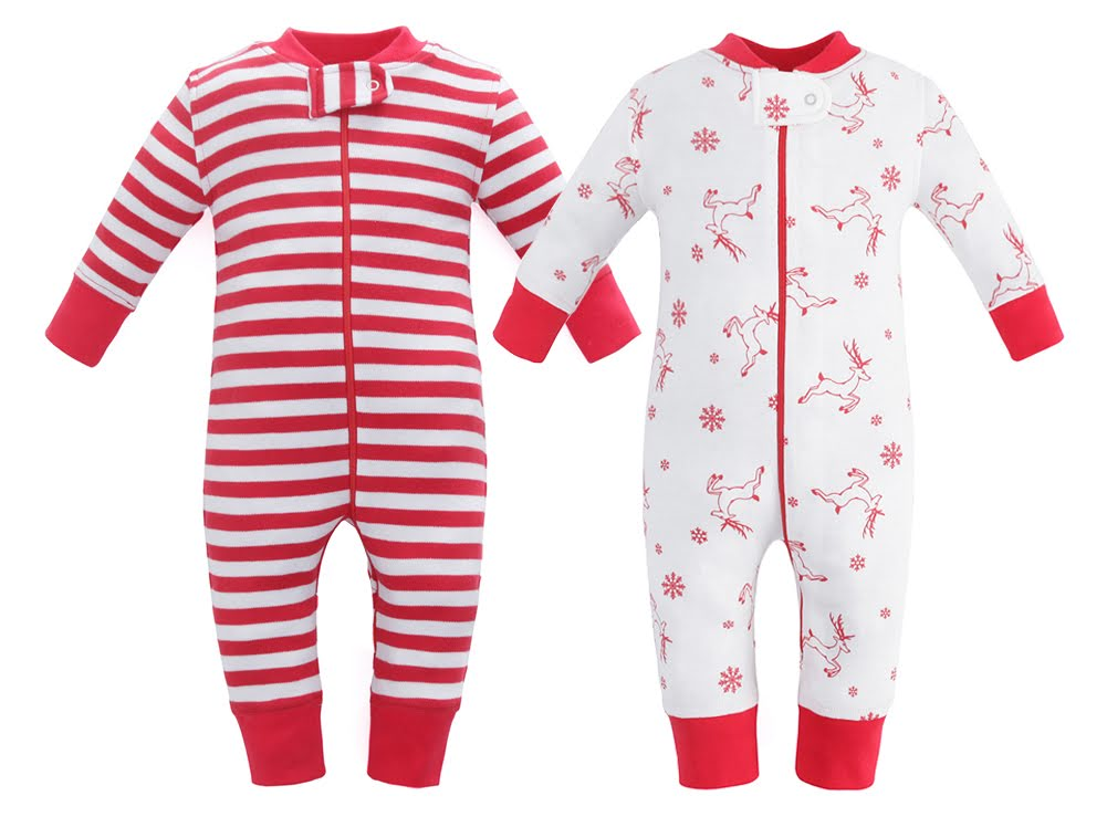 100% Organic Cotton Zip Footless Pajamas  2 Pack - Red Deer and Red Stripe