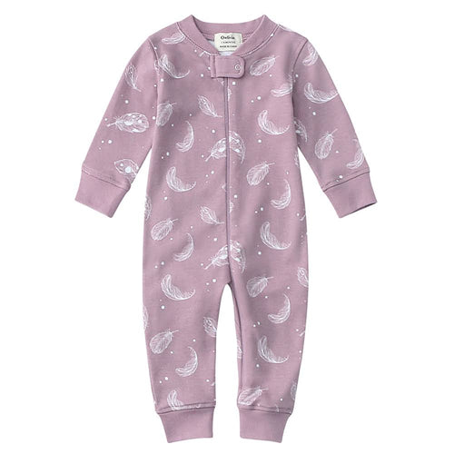 100% Organic Cotton Zip Footless Pajamas - Purple Feather