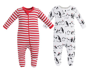 100% Organic Cotton Zip Footed Pajamas  2 Pack - Penguin and Red Stripe
