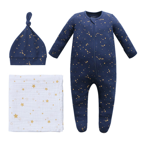 New Baby Bundle - 100% Organic Cotton Starry Sky Pajama & Knot Hat with Swaddle