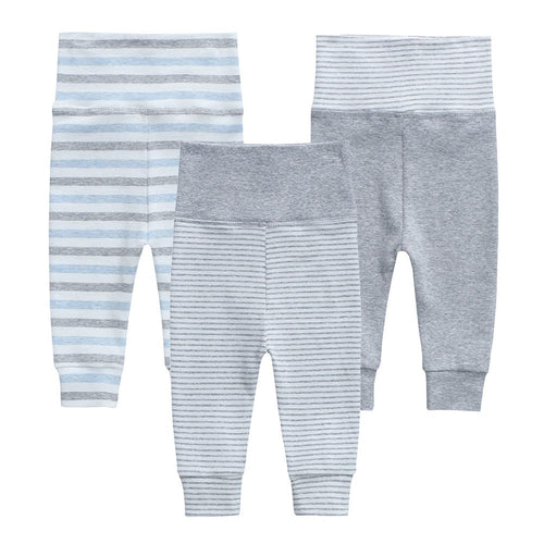 Organic Cotton +  Stretch  3 Pack Pants - Grey Stripe