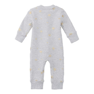 100% Organic Cotton Zip Footless Pajamas - Gray Metallic Star