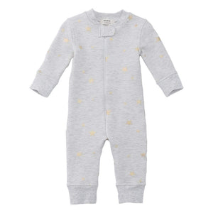 Fleece Footless Zip Pajamas - Gray Metallic Star