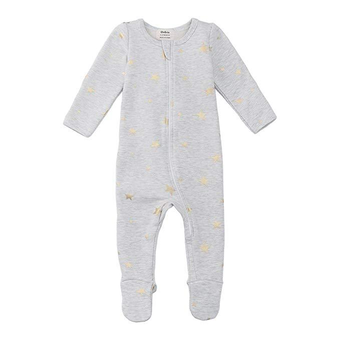 Fleece Footed Pajamas - Gray Metallic Star