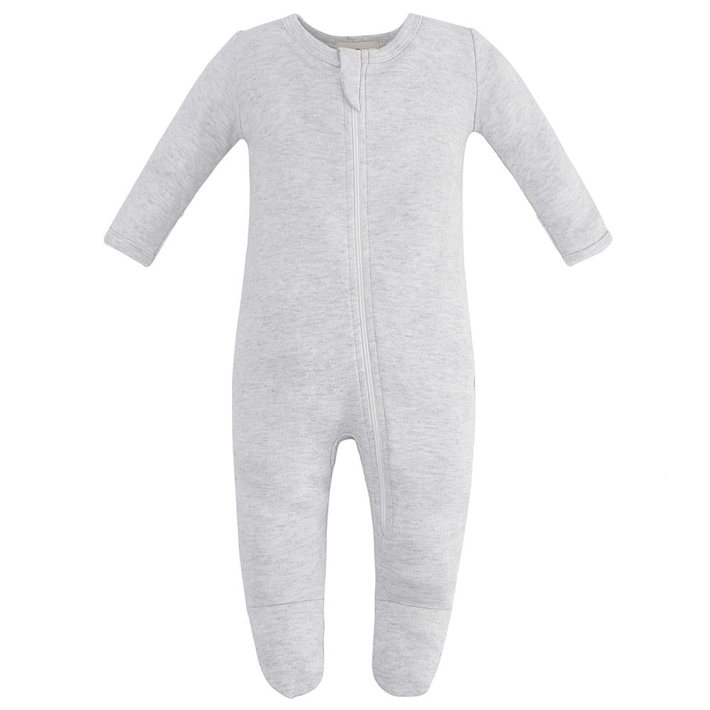 100% Organic Cotton Zip Footed Pajamas - Gray Melange