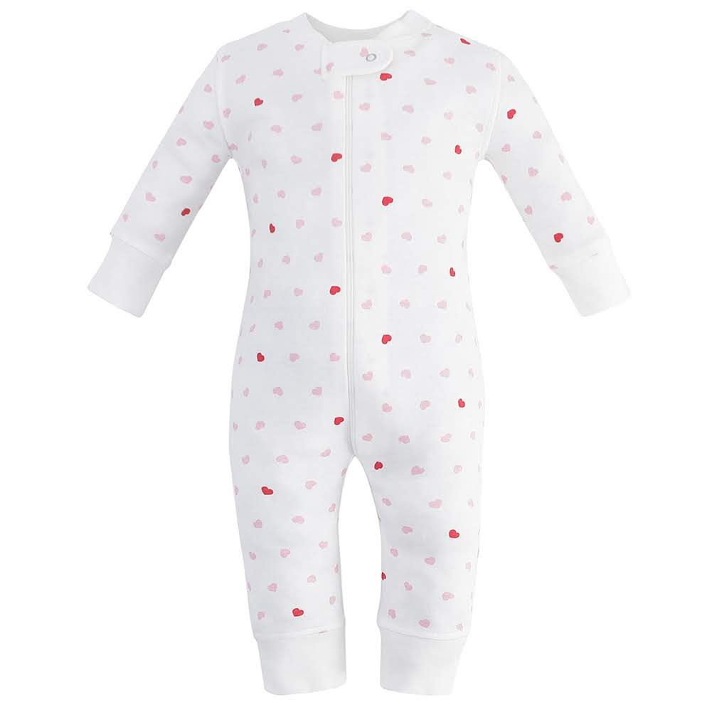 100% Organic Cotton Zip Footless Pajamas - Pink Hearts