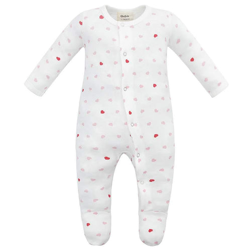 100% Organic Cotton Footed Button Pajamas - Pink Hearts