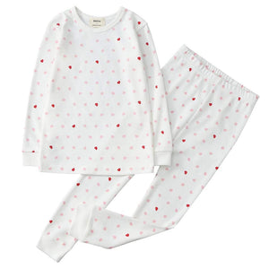 100% Organic Cotton Toddler 2 Piece Pajama Set - Pink Hearts