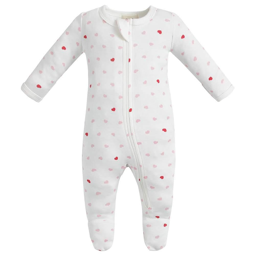 100% Organic Cotton Zip Footed Pajamas - Hearts