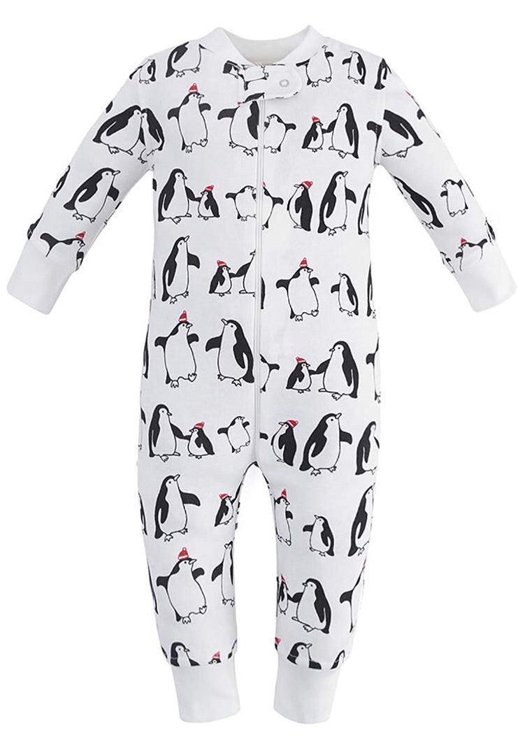 100% Organic Cotton Zip Footless Pajamas - Penguin