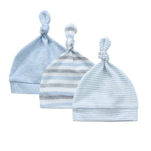 Load image into Gallery viewer, Organic Cotton + Stretch Knot Hat - 3 Pack - Blue Stripes