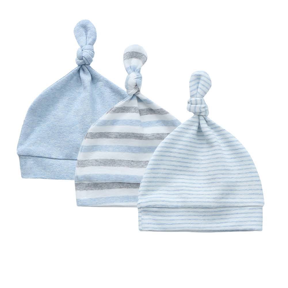Organic Cotton + Stretch Knot Hat - 3 Pack - Blue Stripes