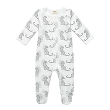 Load image into Gallery viewer, 100% Organic Cotton Zip Footed Pajamas - Leopard
