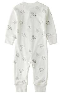 100% Organic Cotton Zip Footless Pajamas - Mushroom