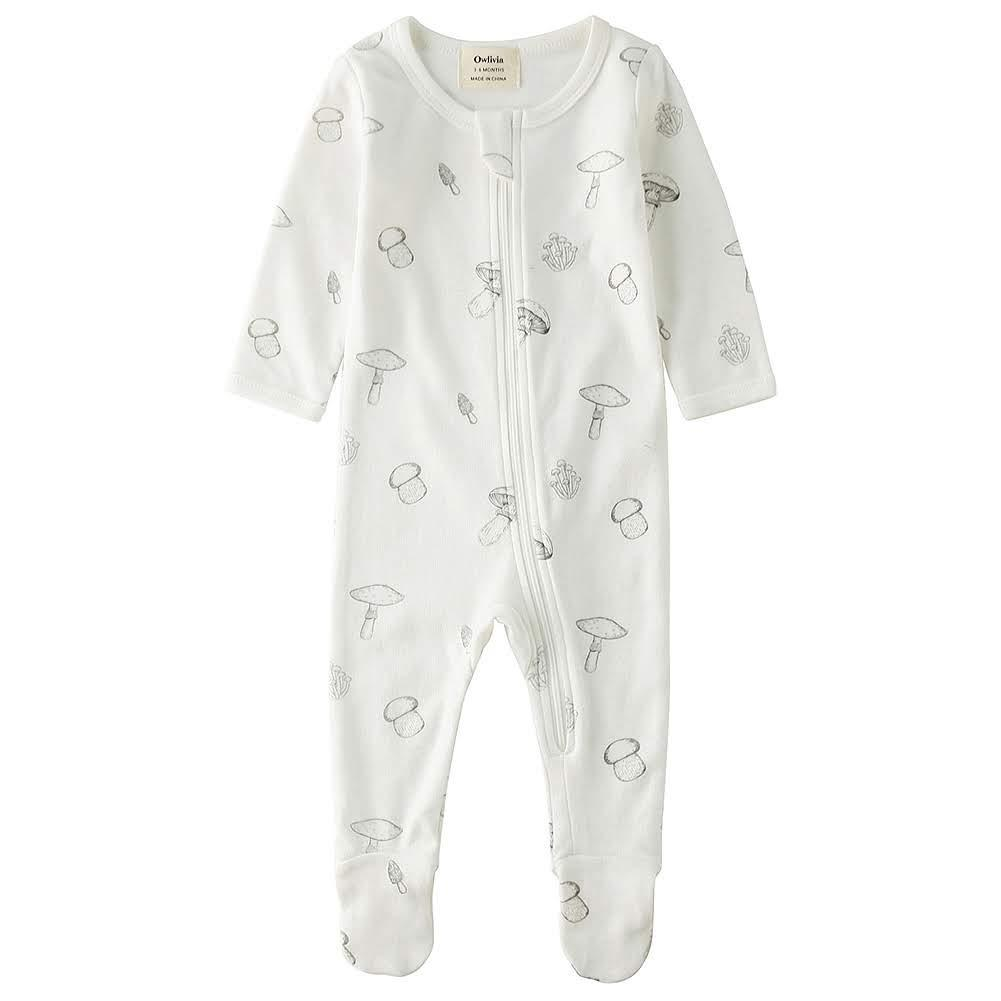 100% Organic Cotton Zip Footed Pajamas - Mushroom