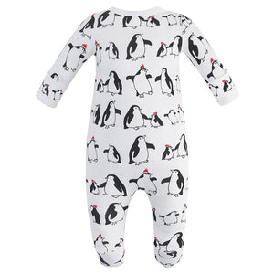 100% Organic Cotton Zip Footed Pajamas - Penguins