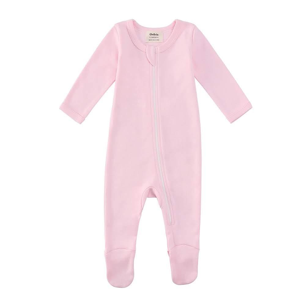 100% Organic Cotton Zip Footed Pajamas - Solid Pink