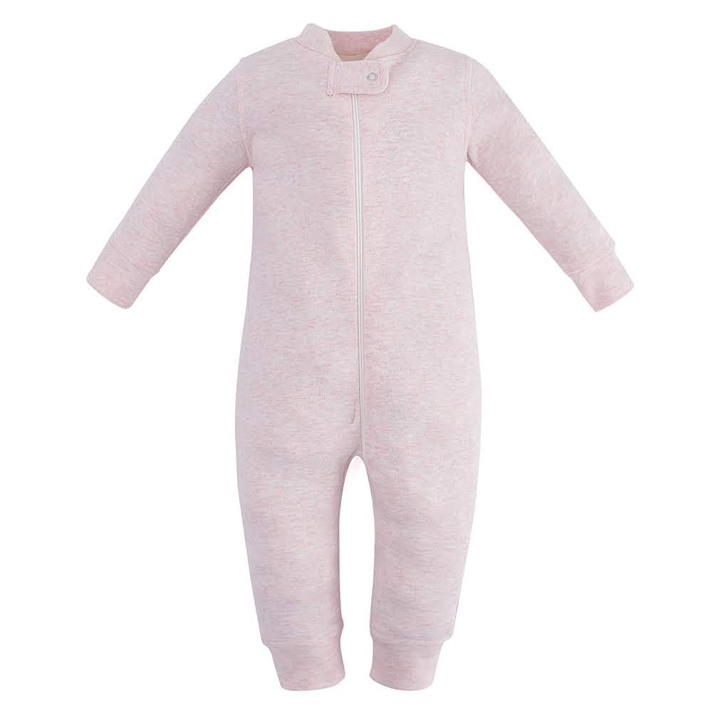 100% Organic Cotton Zip Footless Pajamas - Pink Melange