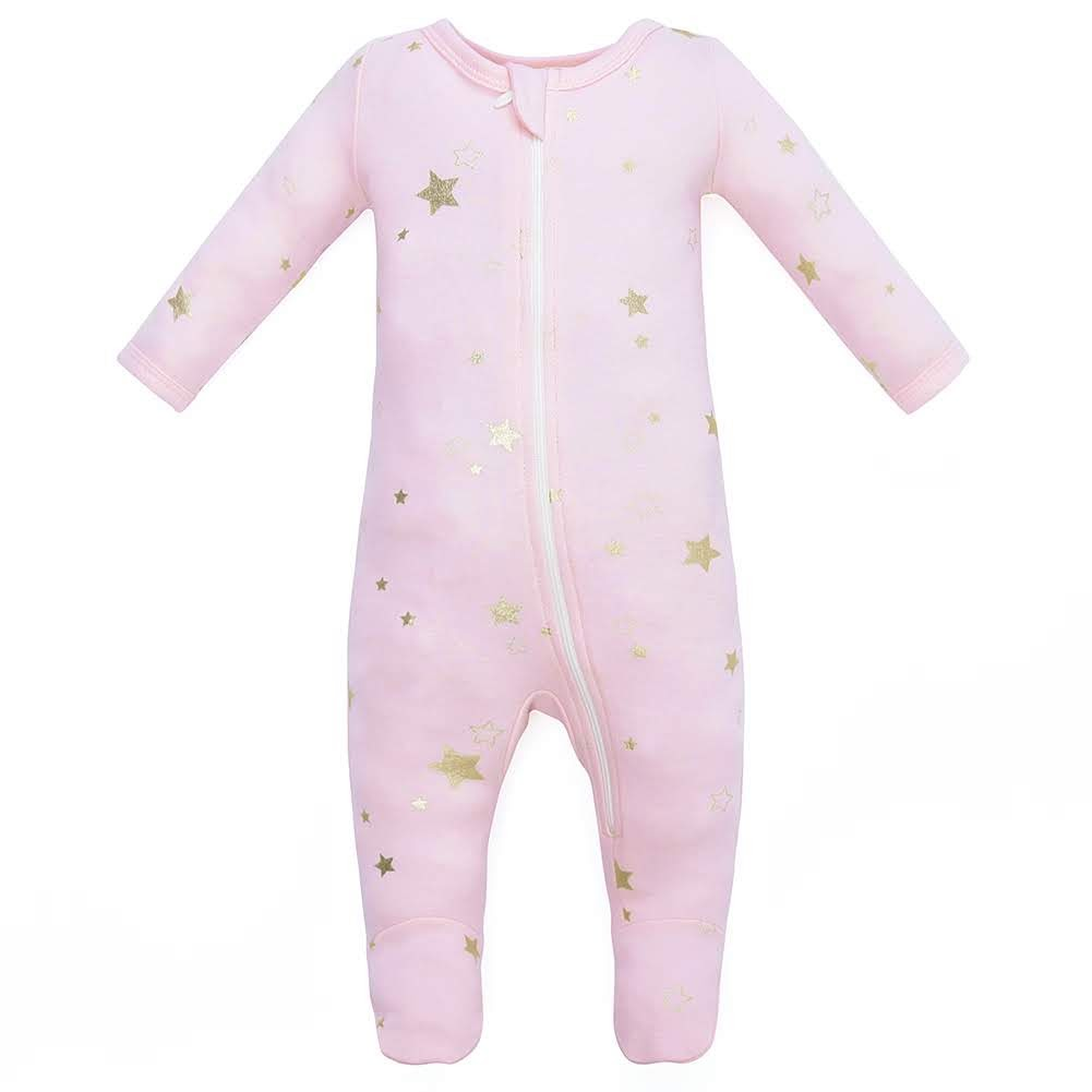 100% Organic Cotton Zip Footed Pajamas - Pink Metallic Star