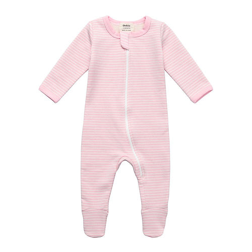Fleece Footed Pajamas - Pink Stripe