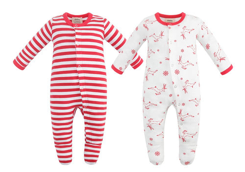 100% Organic Cotton Button Footed Pajamas  2 Pack - Deer and Red Stripe