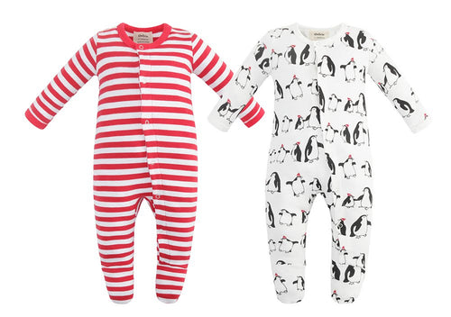 100% Organic Cotton Button Footed Pajamas  2 Pack - Penguin and Red Stripe