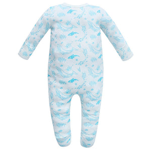 100% Organic Cotton Footed Button Pajamas - Sea Life