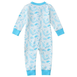 100% Organic Cotton Zip Footless Pajamas - Sea Life