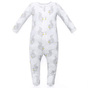 100% Organic Cotton Zip Footed Pajamas - Squirrel
