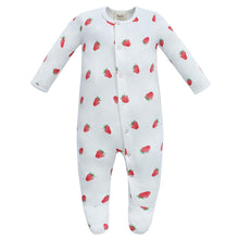 Load image into Gallery viewer, 100% Organic Cotton Footed Button Pajamas - Strawberry