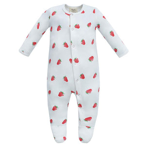 100% Organic Cotton Footed Button Pajamas - Strawberry