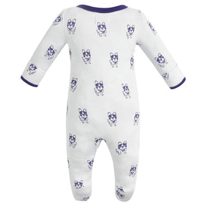 100% Organic Cotton Zip Footed Pajamas - Violet Dogs