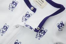 Load image into Gallery viewer, 100% Organic Cotton Footed Button Pajamas - Violet Dogs