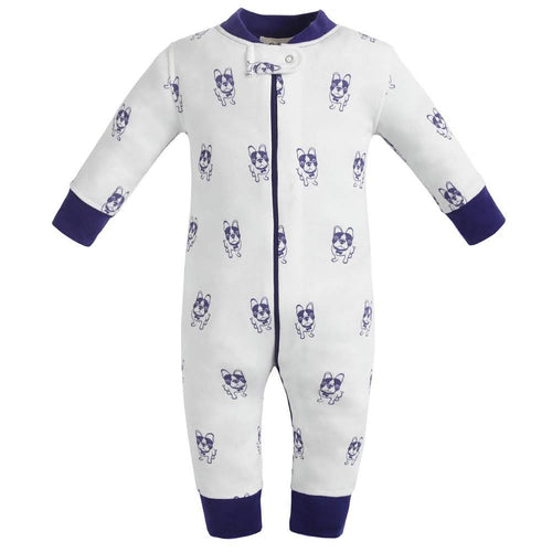 100% Organic Cotton Zip Footless Pajamas - Violet Dogs