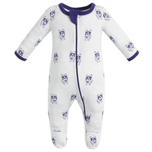 Load image into Gallery viewer, 100% Organic Cotton Zip Footed Pajamas - Violet Dogs