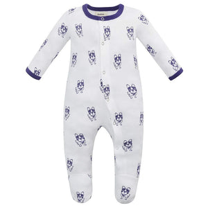 100% Organic Cotton Footed Button Pajamas - Violet Dogs