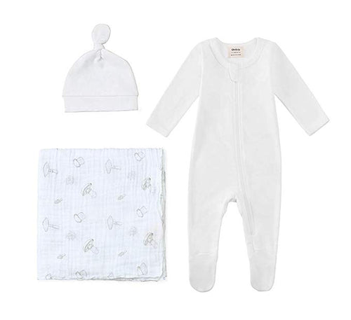 New Baby Bundle - 100% Organic Cotton White Pajama & Knot Hat with Mushroom Swaddle