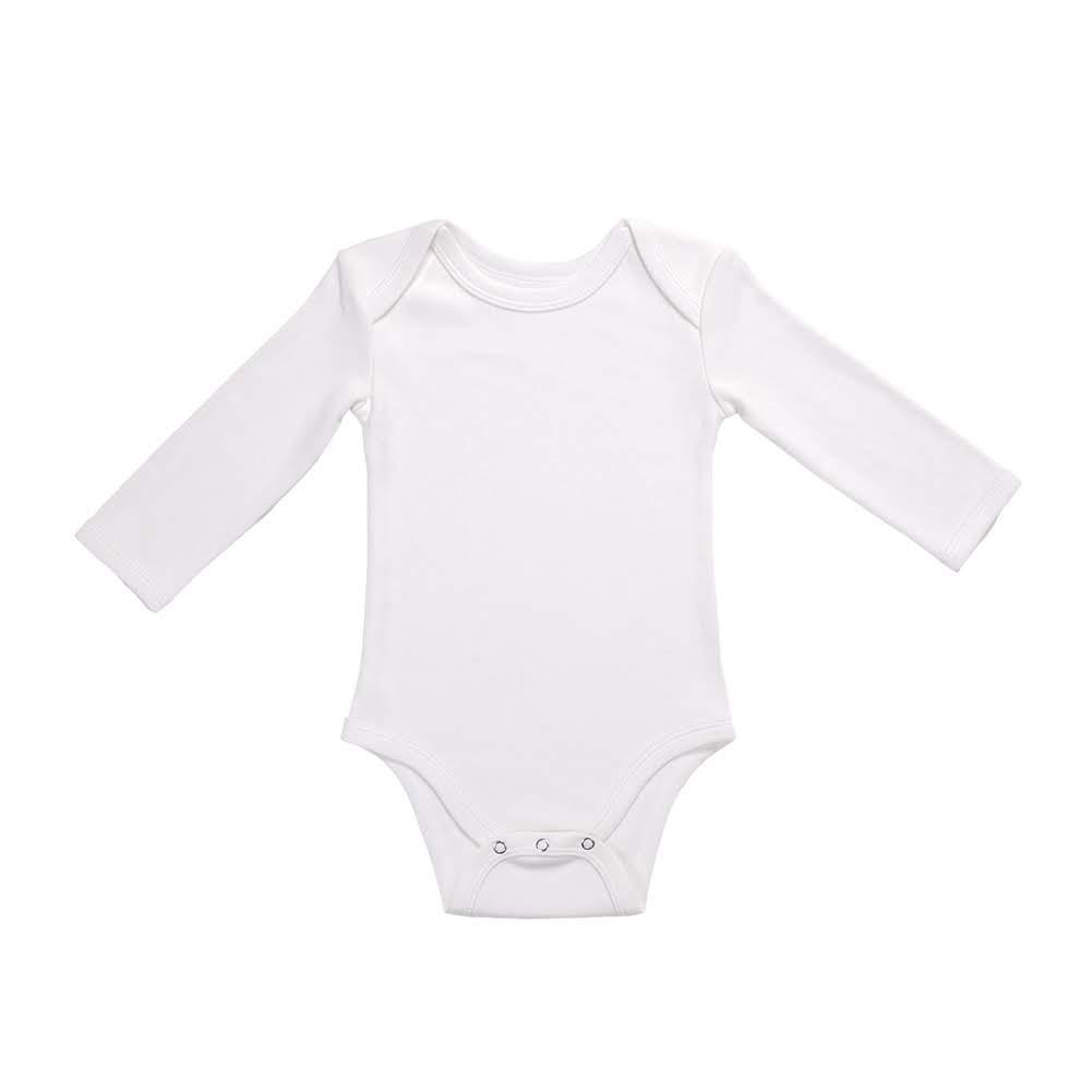 100% Organic Cotton Long Sleeve Bodysuit - Off White