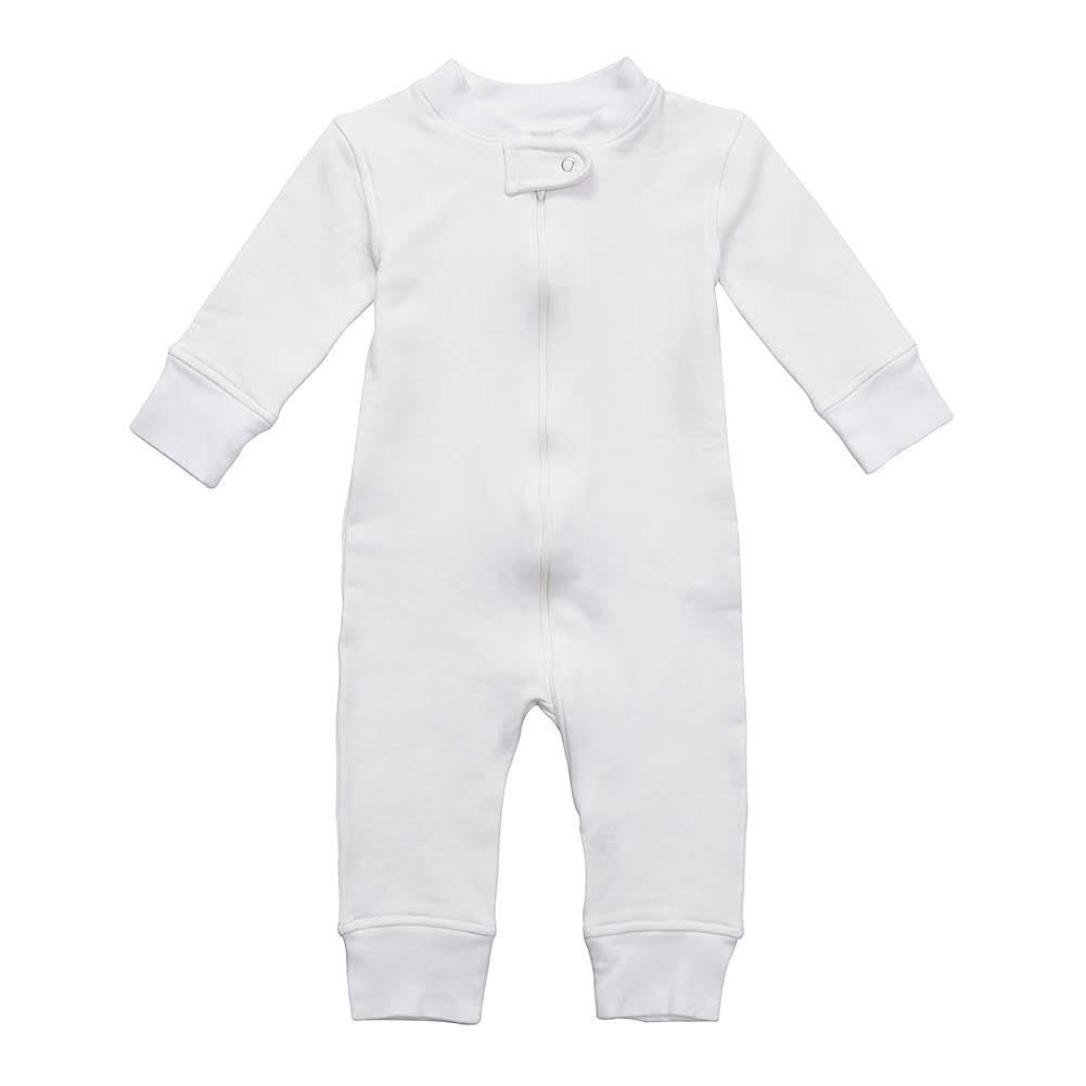 Fleece Footless Zip Pajamas - Off White
