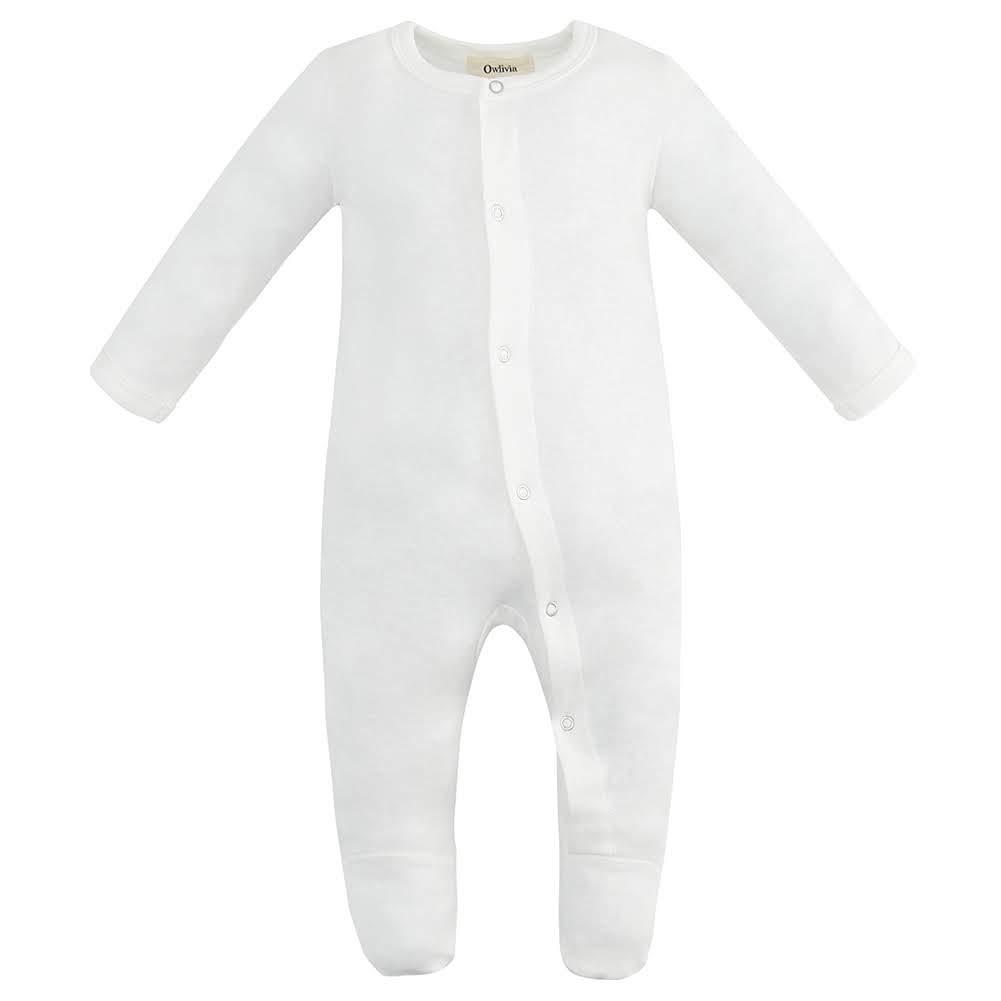 100% Organic Cotton Footed Button Pajamas - Off-White