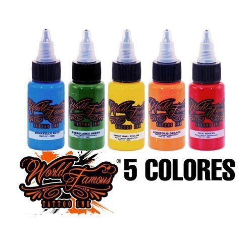 World Famous Tattoo Ink Set of 5 Set A 30ml
