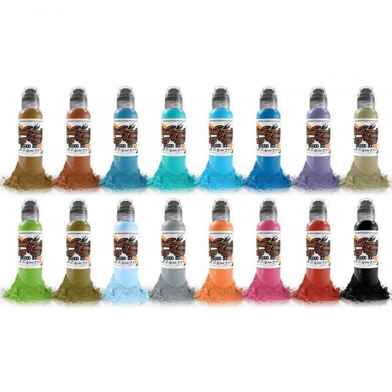 The World Famous Tattoo Ink Sixteen Colour Set #2