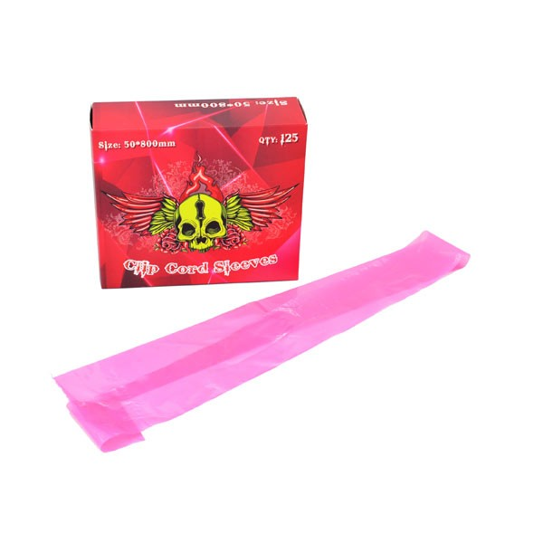 Pink Clip Cord Sleeves 125 pack
