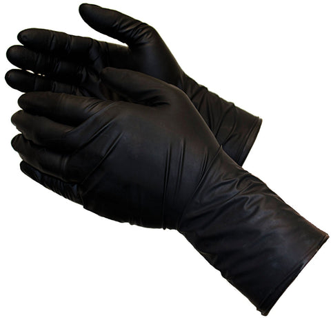 LONG CUFF Latex Gloves - Black