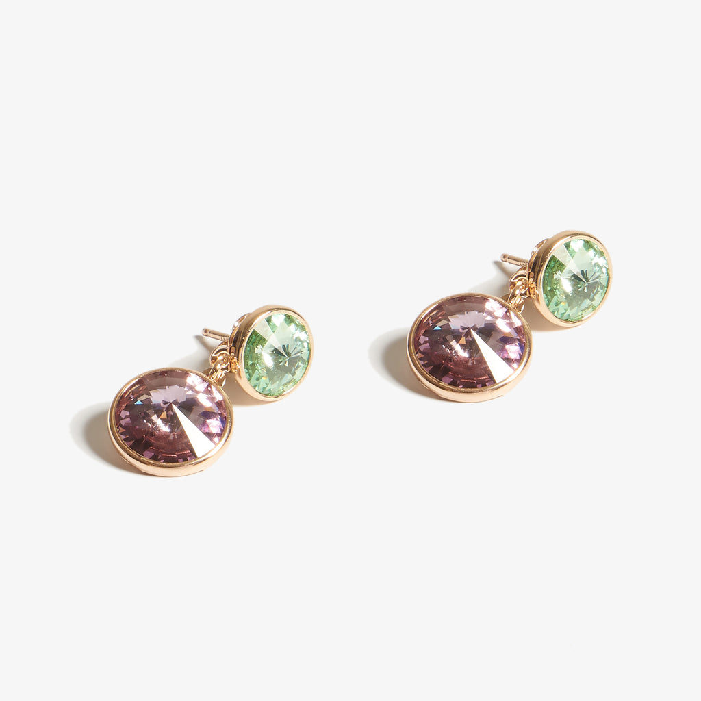 Green & Purple Swarovski Taşlı Rose Gold Küpe - Lapidore