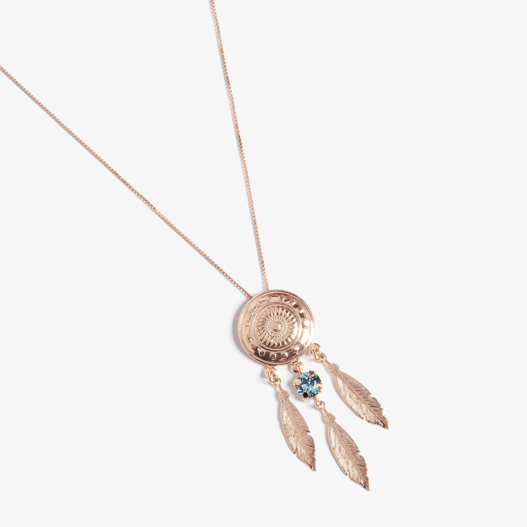 Dream Catcher Aquamarine Swarovski Kolye - Lapidore